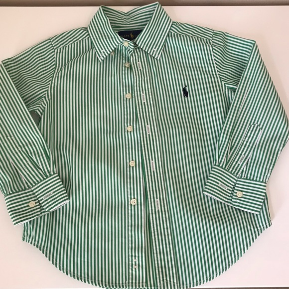 867d730f0 Ralph Lauren Shirts & Tops | Kids Green Striped Poplin Dress Shirt ...